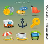 funny travel icons set 6 | Shutterstock .eps vector #448450927