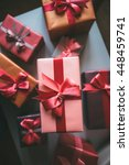 holiday gifts top view. | Shutterstock . vector #448459741