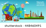 travel composition with famous... | Shutterstock .eps vector #448460491