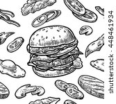 seamless pattern burger and... | Shutterstock .eps vector #448461934