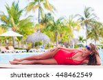 long haired woman in red one...   Shutterstock . vector #448462549