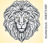 hand drawn lion head... | Shutterstock .eps vector #448471489
