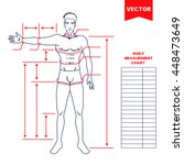 male body measurement chart.... | Shutterstock .eps vector #448473649
