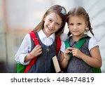 happy schoolgirls are going to... | Shutterstock . vector #448474819