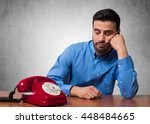man waiting for a phone call | Shutterstock . vector #448484665