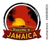 Welcome to Jamaica concept in vintage graphic style for t-shirt and other print production on white background, vector illustration