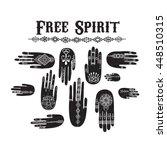vector pattern of henna hands.... | Shutterstock .eps vector #448510315