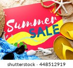 summer beach sandals words... | Shutterstock . vector #448512919