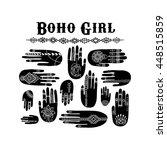 vector set of henna hands....