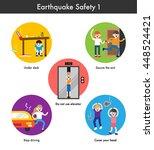 earthquake emergency evacuation ... | Shutterstock .eps vector #448524421