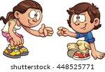 cartoon girl helping a boy get... | Shutterstock .eps vector #448525771