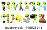 set of green aliens wearing... | Shutterstock .eps vector #448528141