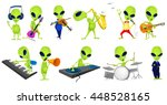 set of green aliens singing and ... | Shutterstock .eps vector #448528165
