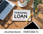 personal loan open book on... | Shutterstock . vector #448538671