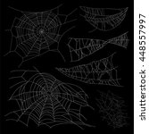 set of different spiderwebs on... | Shutterstock .eps vector #448557997