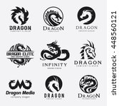 Stock vector dragon logo set 448560121