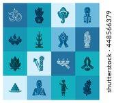 diwali. indian festival icons.... | Shutterstock .eps vector #448566379