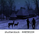 Beautiful christmas place with lovers and animals silhouette - stock photo