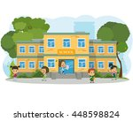 school building and children in ... | Shutterstock .eps vector #448598824