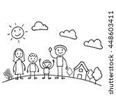 happy of family cartoon... | Shutterstock .eps vector #448603411