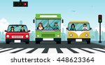 car stopped at a traffic light... | Shutterstock .eps vector #448623364