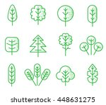 trees icons set. plant thin... | Shutterstock .eps vector #448631275