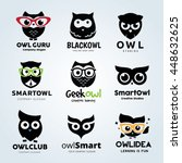 owl logo set  geek animal... | Shutterstock .eps vector #448632625