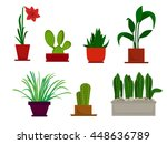 house plants and flowers in... | Shutterstock .eps vector #448636789