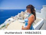 pretty girl on the mountainside ... | Shutterstock . vector #448636831