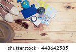 accessories for travel.... | Shutterstock . vector #448642585