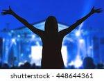 girl enjoying the music... | Shutterstock . vector #448644361