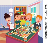 family playing board game.... | Shutterstock .eps vector #448653595