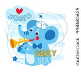cute elephant play music vector ... | Shutterstock .eps vector #448685629