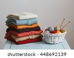 knitted sweaters with knitting... | Shutterstock . vector #448692139