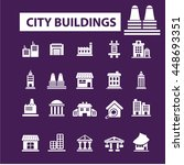 city buildings icons | Shutterstock .eps vector #448693351