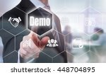 a businessman selecting a demo... | Shutterstock . vector #448704895