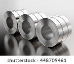 3d rendering roll of steel sheet   Shutterstock . vector #448709461