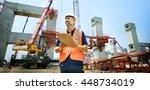 construction worker planning... | Shutterstock . vector #448734019