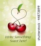 cherries in love greeting card | Shutterstock .eps vector #44873899