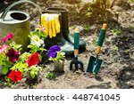 gardening tools and flowers in... | Shutterstock . vector #448741045