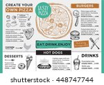 menu placemat food restaurant... | Shutterstock .eps vector #448747744