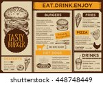 menu placemat food restaurant... | Shutterstock .eps vector #448748449