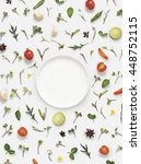 flat lay fresh vegetables ... | Shutterstock . vector #448752115