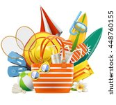 vector beach accessories with... | Shutterstock .eps vector #448760155
