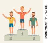 flat cartoon sportsmen. winners ... | Shutterstock .eps vector #448761181