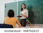 teacher or docent or educator... | Shutterstock . vector #448762615