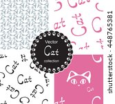 pattern collection with cat.... | Shutterstock .eps vector #448765381