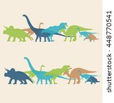 dinosaurs silhouette colorful... | Shutterstock .eps vector #448770541