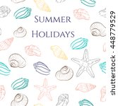 pattern with sea shells.... | Shutterstock .eps vector #448779529