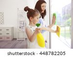 daughter and mother cleaning... | Shutterstock . vector #448782205